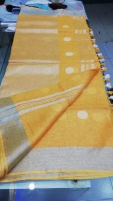 Mango Yellow with Silver Jamdani Linen Saree-yespoho
