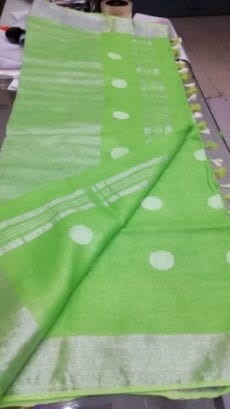 Green with Silver Jamdani Linen Saree-yespoho