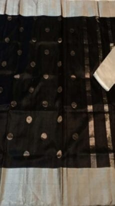 Black Uppada Soft Silk Saree With Coin Butta Design-yespoho