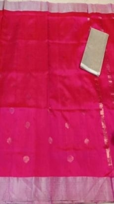 Dark Pink Uppada soft silk saree with coin Butta-yespoho