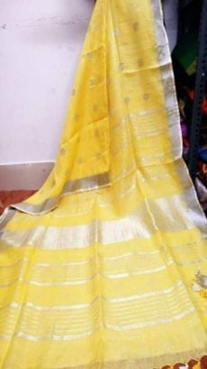 Yellow Jamdani Linen Saree with Silver Butta Design Pattern-yespoho