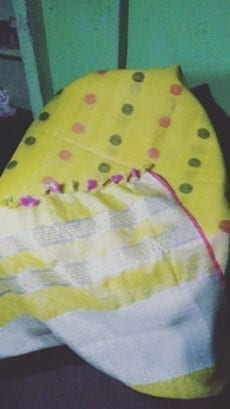 Yellow Jamdani Linen Saree with Pink & Grey Butta Design-yespoho