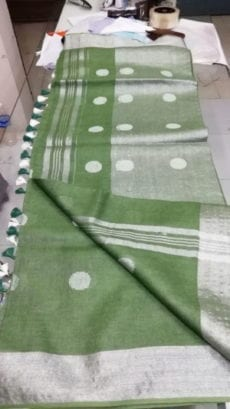 Mehendi Green Jamdani Linen Saree With Silver Butta Design-yespoho