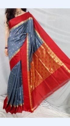 Dark Grey Garad Silk Saree with Red border-yespoho