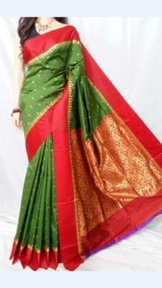 Dark Green Garad Silk Saree with Red border-yespoho
