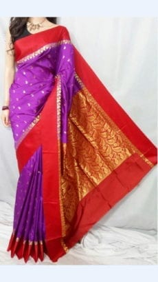 Violet Garad Silk Saree with Red border-yespoho