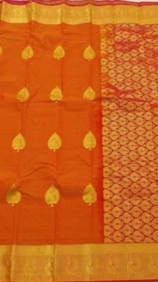 Orange Kanchipuram Semi Silk Saree-yespoho