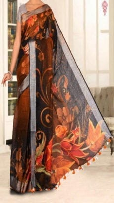 Black Digital Print Linen Sarees with Floral Design-yespoho