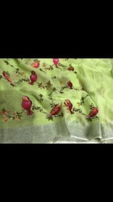 Light Green Bird Design Linen Sarees-yespoho