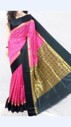 Pink and Black Garad Silk Saree-yespoho