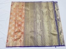 Blue Yellow Kanchipuram Pure Tissue Silk Saree-yespoho