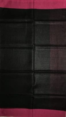 Black and Pink Pure Linen Saree-yespoho