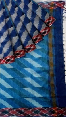 Blue & Grey Ikkat Cotton Saree-yespoho