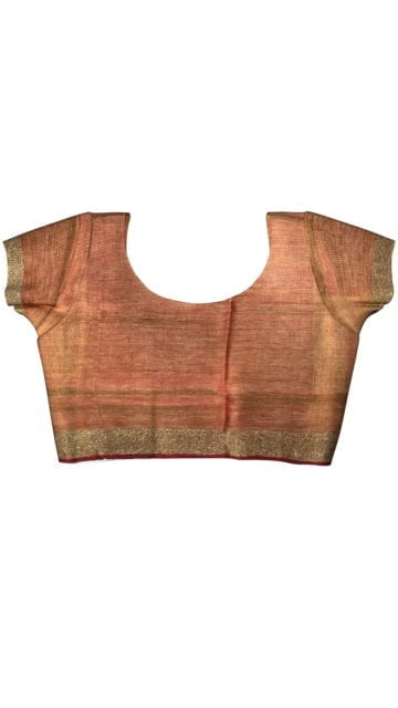 Yellow red linen saree with Unstitched Blouse
