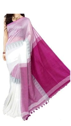 White And Dark Purple Madhyamani Khadi Saree-yespoho