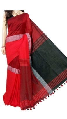 Red And Black Madhyamani Khadi Saree-yespoho