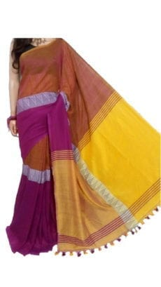 Dark Pink And Yellow Madhyamani Khadi Saree-yespoho