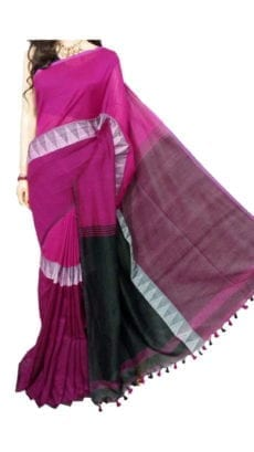 Dark Pink And Black Madhyamani Khadi Saree-yespoho