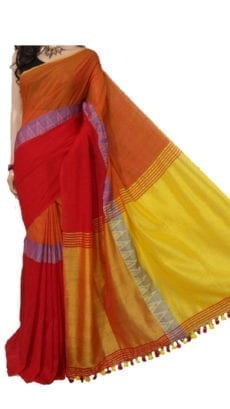 Red and Yellow Madhyamani Khadi Saree-yespoho