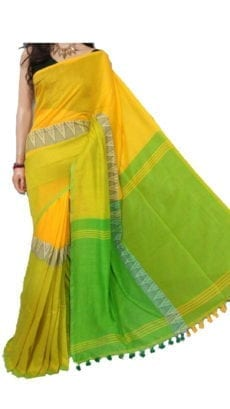 Yellow and Light Green Madhyamani Khadi Saree-yespoho