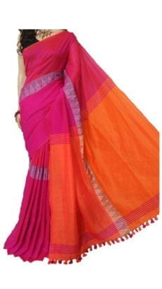 Dark Pink and Orange Madhyamani Khadi Saree-yespoho