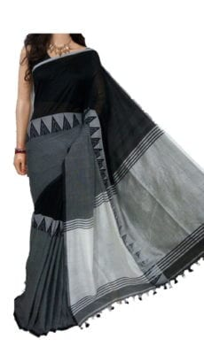 Black and Grey Madhyamani Khadi Saree-yespoho