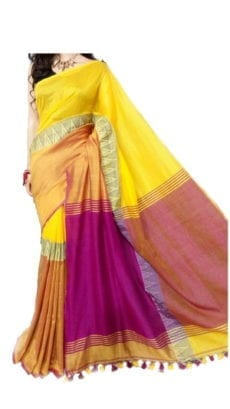 Yellow and Dark Pink Madhyamani Khadi Saree-yespoho