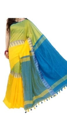 Yellow and Light Blue Madhyamani Khadi Saree-yespoho