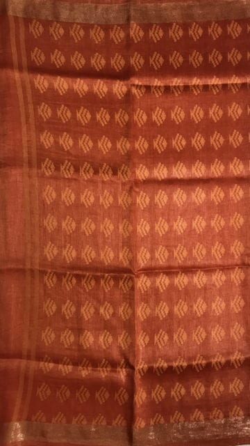 Bright Orange Orange silk linen saree with cutwork pallu