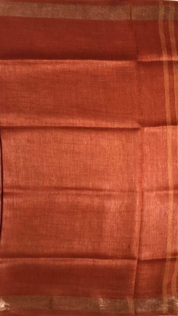 Shop Orange silk linen saree with cutwork pallu Online