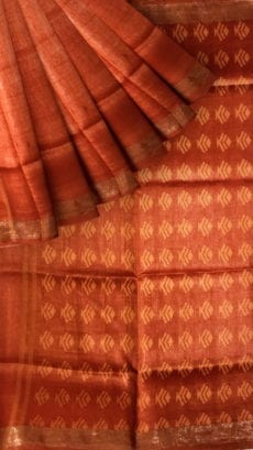 Orange silk linen saree with cutwork pallu-yespoho