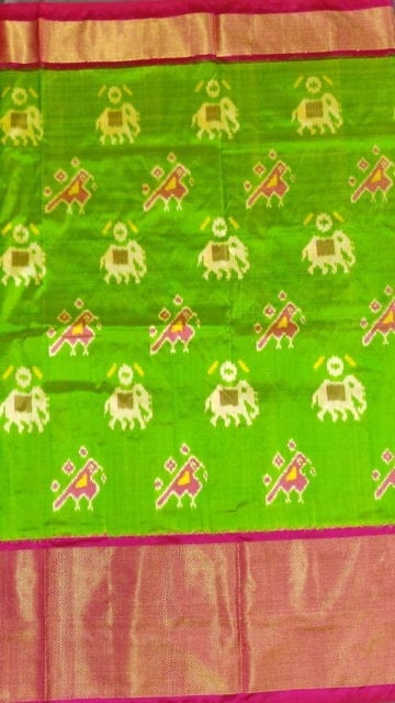 Yespoho Ikkat parrot green with elephant and sparrow design and pinkcolor pallu with kaddi border