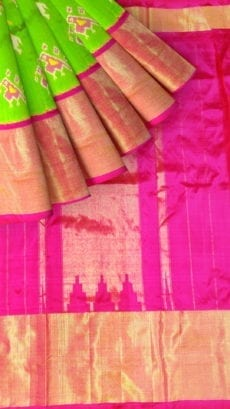 Ikkat parrot green with elephant and sparrow design and pinkcolor pallu with kaddi border-yespoho