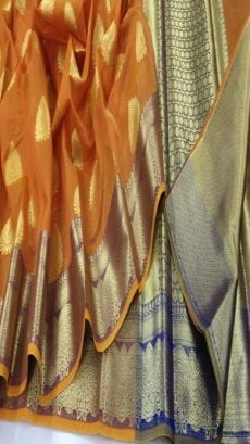 Orange Pure Cotton Masrize Sarees-yespoho