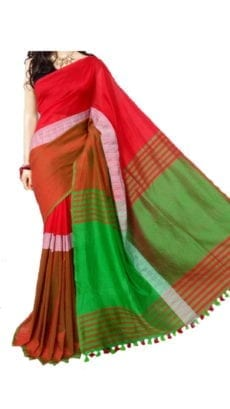 Red and Green Madhyamani Khadi Saree-yespoho