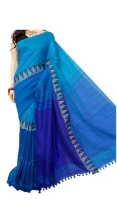 Light Blue Madhyamani Khadi Saree-yespoho