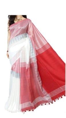 White and Red Madhyamani Khadi Saree-yespoho