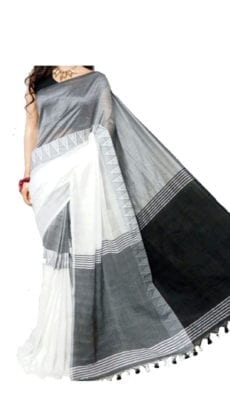 White and Black Madhyamani Khadi Saree-yespoho