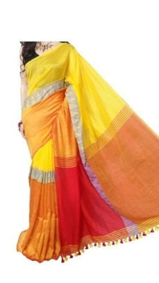 Yellow and Orange Madhyamani Khadi Saree-yespoho