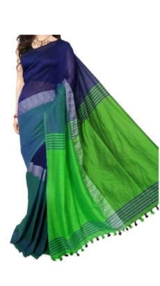 Dark Blue and Light Green Madhyamani Khadi Saree-yespoho