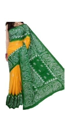 Yellow and Green Batik Hand printed Cotton Saree