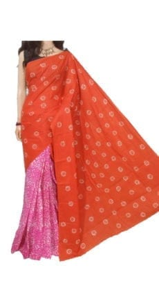 Beautiful Orange and Pink Hand printed Batik Cotton Saree