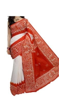 White and Orange Hand Batik Print Saree-yespoho