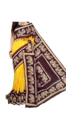 Bright Yellow and Brown Hand Batik Print Saree