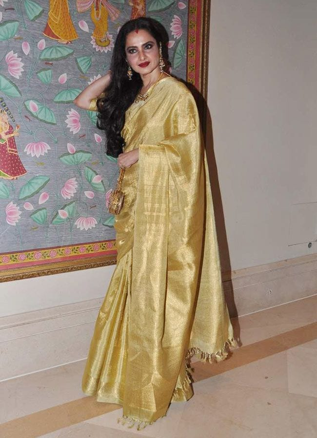Rekha in Golden Saree