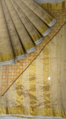 Golden Tissue Linen with cut work pallu-yespoho