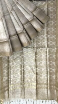 Cream silk linen saree with cutwork pallu-yespoho