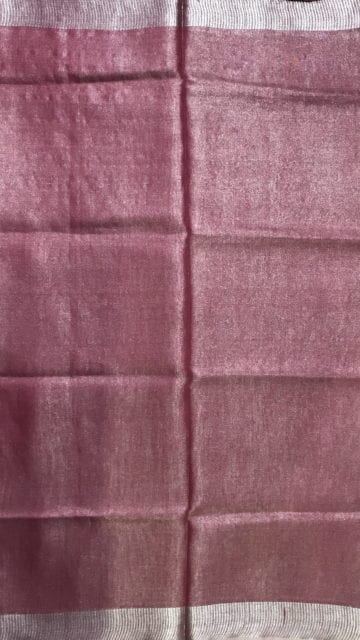 Yespoho Onion Pink Tissue Linen Saree with Dovi Border