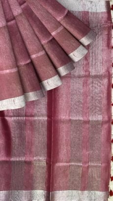 Onion Pink Tissue Linen Saree with Dovi Border-yespoho