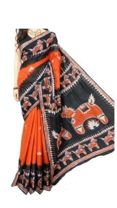 Dark Orange and Black Hand Batik Print Saree